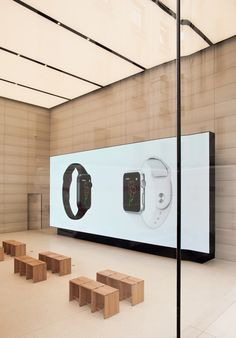 Apple has lifted the veil on the first of its store interiors since Jonathan Ive became chief design officer, at its new Apple Store in the Belgian capital Apple Shop, Merchandising Displays, Store Displays, Retail Displays, Window Displays, Digital Retail, Store Interiors, Digital Signage, Retail Interior