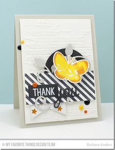 Blissful Butterflies, Photo Booth, Striped Backgrounds, Blissful Butterflies Die-namics, Fishtail Flags STAX Die-namics, Leaf-Filled Flourish Die-namics, Love & Adore You Die-namics, Pierced Circle Frames Die-namics, Starry Night Stencil, Small Brick Wall Stencil - Barbara Anders   #mftstamps