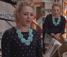 Carrie's navy and turquoise polka dot sweater, flower necklace and graphic printed skirt on The Carrie Diaries.  Outfit Details: http://wornontv.net/24067/ #TheCarrieDiaries