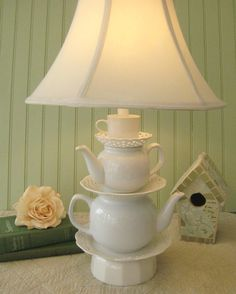 Teapot Lamp White Teapots Tea Cup and Reticulated by ThistleandJug, $99.00