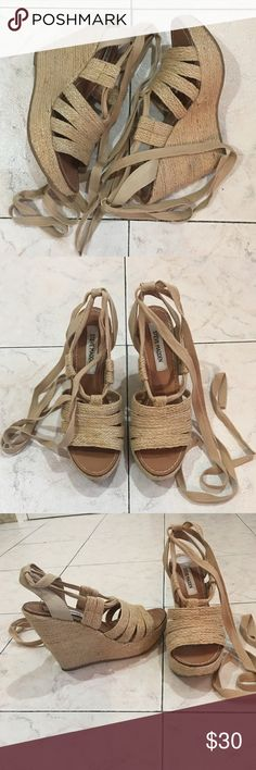 Steve Madden Ankle Wrap Espadrille Wedges Steve Madden Espadrille Wedges in Natural. Wraps up your ankles for a sexy look! Size 7 1/2. Have been worn but in great condition. Comes with box, but box does have some writing on it just an fyi!   Bundle & Save! Free Gift with Every Purchase! 💰✨ Steve Madden Shoes Espadrilles