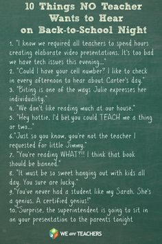 10 Things No Teacher Wants to Hear on Back-to-School Night
