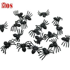 AG 26 Mosunx Business 2016 Hot Selling 20 PC Halloween Plastic Black Spider Joking Toys Decoration Realistic