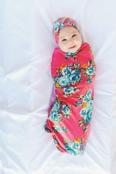b628162ac Pink Floral Swaddle Set / Swaddle Blanket and Headband Set / Knit Swaddle/  Newborn