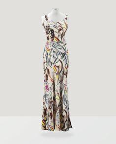 """Schiaparelli Haute Couture, printemps-été 1938 COLLECTION """"CIRQUE"""" ENSEMBLE DU SOIR EN CRÊPE DE SOIE IMPRIMÉ D'APRÈS UN DESSIN DE MARCEL VERTÈS SCHIAPARELLI HAUTE COUTURE, 'CIRCUS COLLECTION', S/S 1938 A RARE SILK CREPE GOWN PRINTED WITH DESIGNS AFTER MARCEL VERTÈS"""