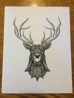 zentangle deer | Zentangle Deer Art Print