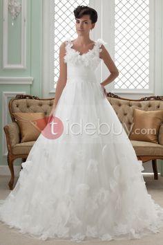 Aライン Vネック チャペルトレーン ウェディングドレス