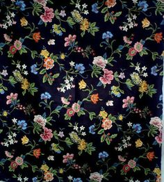 """chintz black floral fabric with soil repellant finish   36""""x55"""""""