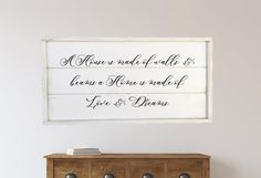 Excited to share this item from my shop: A house is made of walls and beams a home is made of love and dreams, framed shiplap wood sign Wood Wedding Signs, Wood Signs, Shiplap Wood, Pantry Sign, Rustic Chair, Home Decor Signs, Wedding In The Woods, Diy Garden Decor, Amazing Gardens