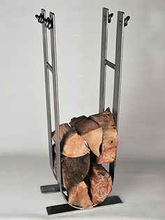 Contemporary Steel Log Basket - Log Carrier – Modern design & strong. Use in a Fine Town or Country Home. £195.00 #FiresideAccessories