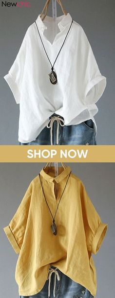 Great Images Sewing clothes shirts Tips Casual Half Bat Sleeve V Neck Lapel Shirt Casual Chic, Casual Wear, Casual Outfits, Mode Monochrome, Vêtement Harris Tweed, Boho Fashion, Fashion Outfits, Linen Dresses, Sewing Clothes
