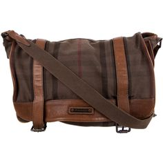 Pre-owned Burberry Smoke Check Messenger Bag ($495) ❤ liked on Polyvore featuring bags, messenger bags, brown, snap bag, burberry messenger bag, burberry, zipper bag and canvas bag
