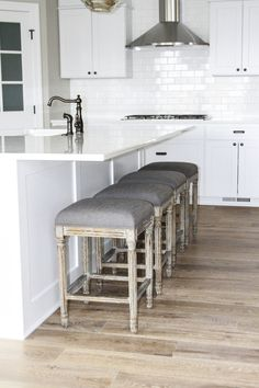 """""""The wood is cut and wire brushed 100% by hand, which is a such a unique feature that you don't see anywhere else.""""  Floor is Malibu from our Alta Vista Collection."""