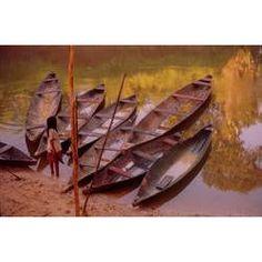 barcos escavados em troncos dos matsés