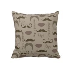 Mustache and Lips Pillow