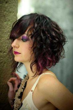 Highlighted Curly Hair Bob