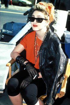 madonna on the set of Desperate Seeking Susan 84