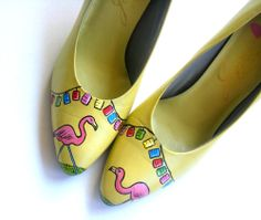 Painted Shoes Lawn Party Flamingo Pumps Size by ScholarlyArticles