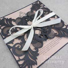 Elegant laser cut Wedding Invitation Created by Eternal Stationery www.eternalstationery.com.au
