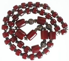 Art Deco Cherry Red Amber Bakelite Necklace Barrel Bead Faturan Tesbih 135 grams