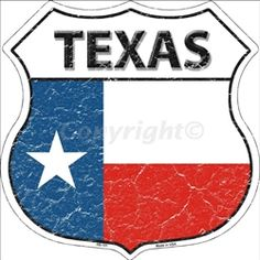 HS-151 Texas State Flag Highway Shield Aluminum Metal Sign