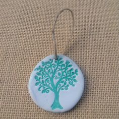 Green tree ornament, white clay ornament by flowercraftsboutique on Etsy