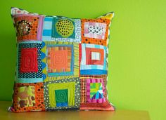 This 18 x 18 pillow cover is a mini version of the Nate Quilt I designed for my book, Fresh Quilting: Fearless Color, Design, and Inspiration. It is