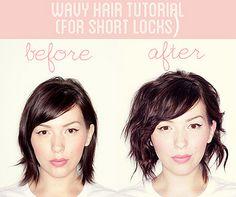 Wavy hair tutorial for short locks