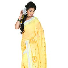 Light Yellow Faux Chiffon Saree with Blouse