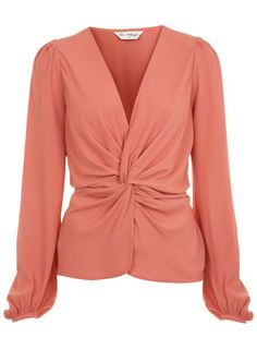 Pink Twist Front Blouse. Pair with gold acessories, teal clutch, black skinny jeans, and black pumps :)