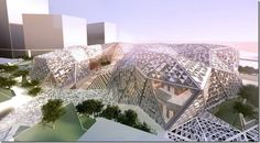 """The KAFD Conference Centre employs several profoundly innovative sustainability strategies, including an enclosure which locates areas of glazing where they are least susceptible to the harsh desert sun, a ventilation system incorporating a """"solar chimney"""" that uses solar heat to move air through the main atrium spaces, and a roof which contains indigenous desert grasses to minimize irrigation requirements."""