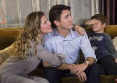 Xavier Trudeau covers his eyes as Liberal Leader Justin Trudeau watches the results with his wife, Sophie Grégoire, at a hotel in downtown Montreal. Justin Trudeau Mother, Liberal Government, Premier Ministre, The Heirs, Prime Minister, Business News, His Eyes, Role Models, Victorious