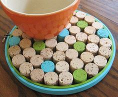 SALE Blue and Green Round Wine Cork Board/Trivet. $17.00, via Etsy.
