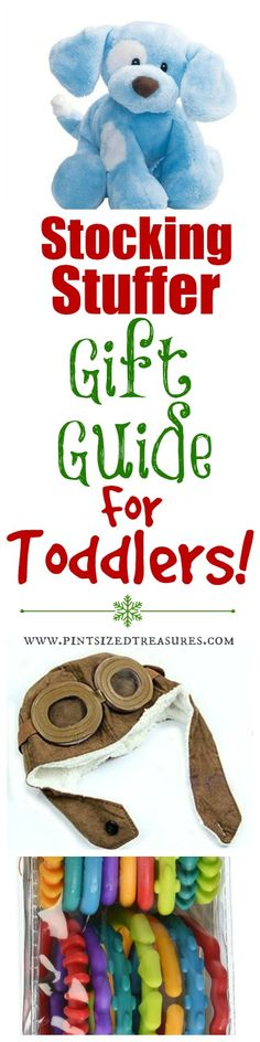 Toddlers are fun to buy for at Christmas! Check out this super-detailed stocking stuffer gift guide for toddlers. Plus, enter a $500 Paypal cash giveaway plus $100 Amazon gift card -- two happy mom winners! www.pintsizedtreasures.com