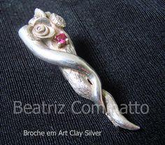 Broche em Art Clay Silver e zircônia by Beatriz Cominatto, via Flickr