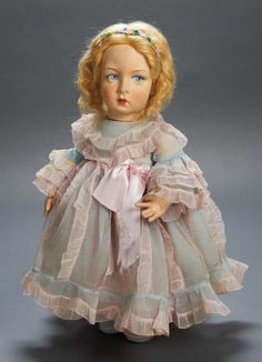 Apples - An Auction of Antique Dolls: 52 Italian Felt Character Girl by Lenci in Organdy Gown