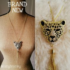 Brand NewLeopard with rhinestones Pendant Necklace Stunning stunning pendand! Brand new, very shiny and eye catching! Chain length: 28.3in Pendant:1.75x1.6in Tassel: 2in HelloLucy Boutique Jewelry Necklaces