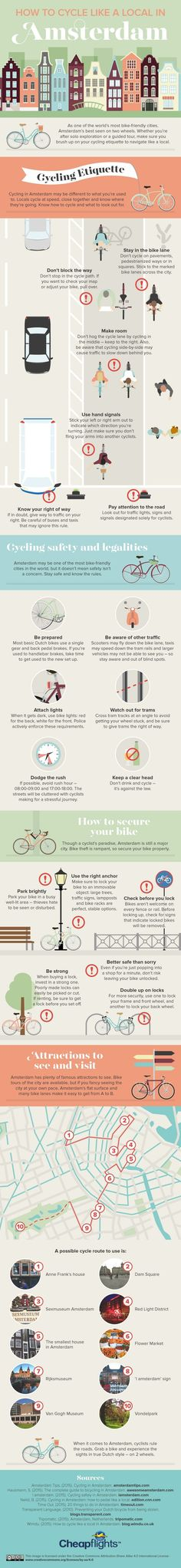 How to Cycle Like a Local in #Amsterdam - Do you fancy an infographic?  There are a lot of them online, but if you want your own please visit http://www.linfografico.com/prezzi/  Online girano molte infografiche, se ne vuoi realizzare una tutta tua visita http://www.linfografico.com/prezzi/