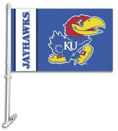 NCAA Kansas Jayhawks Car Flag with Wall Bracket