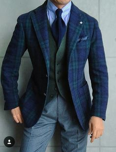 Men's Navy and Green Plaid Blazer, Olive Wool Waistcoat, Light Blue Vertical Striped Dress Shirt, Grey Wool Dress Pants Sharp Dressed Man, Well Dressed Men, Mens Dress Pants, Men Dress, Dress Shirt, Vertical Striped Dress, Look Formal, Herren Outfit, Outfits