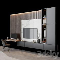 Bedroom Bed Design, Modern Bedroom Design, Interior Design Living Room, Living Room Designs, Tv Set Design, Tv Wall Design, Living Room Wall Units, Living Room Grey, Tv Unit Decor