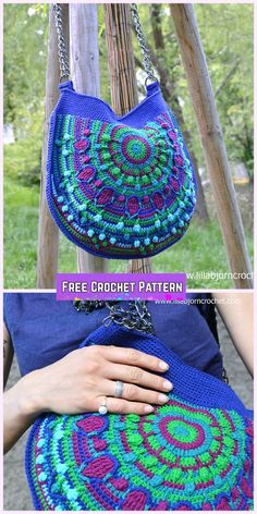 Peacock Tail Bag Free Crochet Pattern