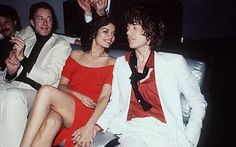 Studio 54 defined the excesses of the 70s and Halston reveled in it. here with Bianca and Mic Jagger