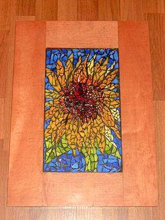 Mosaic Sunflower Made of recycled door, beads, glass, flower vase, martini glasses