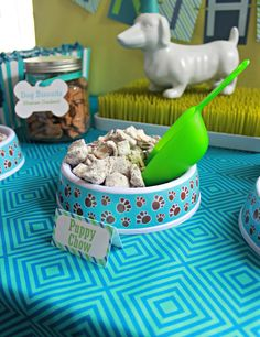 Puppy Chow snacks at a Dogs Birthday Party! See more party planning ideas at Ca… Puppy Chow snacks at a Dog First Birthday, Puppy Birthday Parties, Puppy Party, Animal Birthday, Birthday Party Themes, Birthday Ideas, Dog Party Themes, Birthday Celebration, 10th Birthday