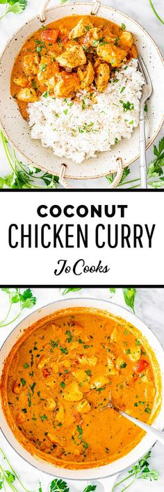 This Creamy Coconut Chicken Curry is delicious, healthy, made in one pot and best of all ready in only 30 minutes! Forget take-out, this is about to become your new family favorite. #coconut #chicken #curry