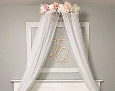 Fleur de couvert, ciel de lit, auvent Floral, lecture verrière, chambre de bébé fille, auvent, Shabby Chic, ciel de lit fleur