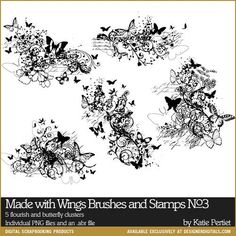 Made with Wings Brushes and Stamps No. 03- Katie Pertiet Brushes- DS578788- DesignerDigitals