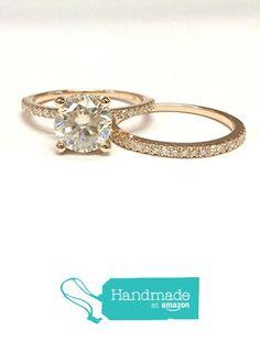 Moissanite Engagement Ring Bridal Set Pave Diamond Weddomg 14K Rose Gold 7mm from the Lord of Gem Rings https://www.amazon.com/dp/B01HFYQU9I/ref=hnd_sw_r_pi_dp_Ak.AxbQXTZZ68 #handmadeatamazon