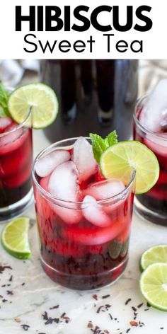 How to make hibiscus sweet tea. A beautiful and delicious drink. This refreshing hibiscus tea is full of color and flavor. Non Alcoholic Drinks Cocktails, Alcoholic Tea, Keto Cocktails, Tea Drinks, Cocktail Recipes, Beverages, Easy Drink Recipes, Drinks Alcohol Recipes, Sweets Recipes